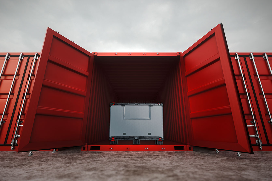 Palettenbox aus Con-Pearl® in Container
